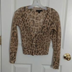 Banana Republic Mad Men Leopard Cardigan Sweater